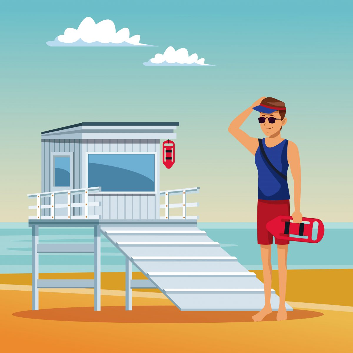 Lifeguard looking the beach summer cartoons vector illustration graphic design