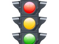 Traffic lights realistic isolated object on white background vector illustration
